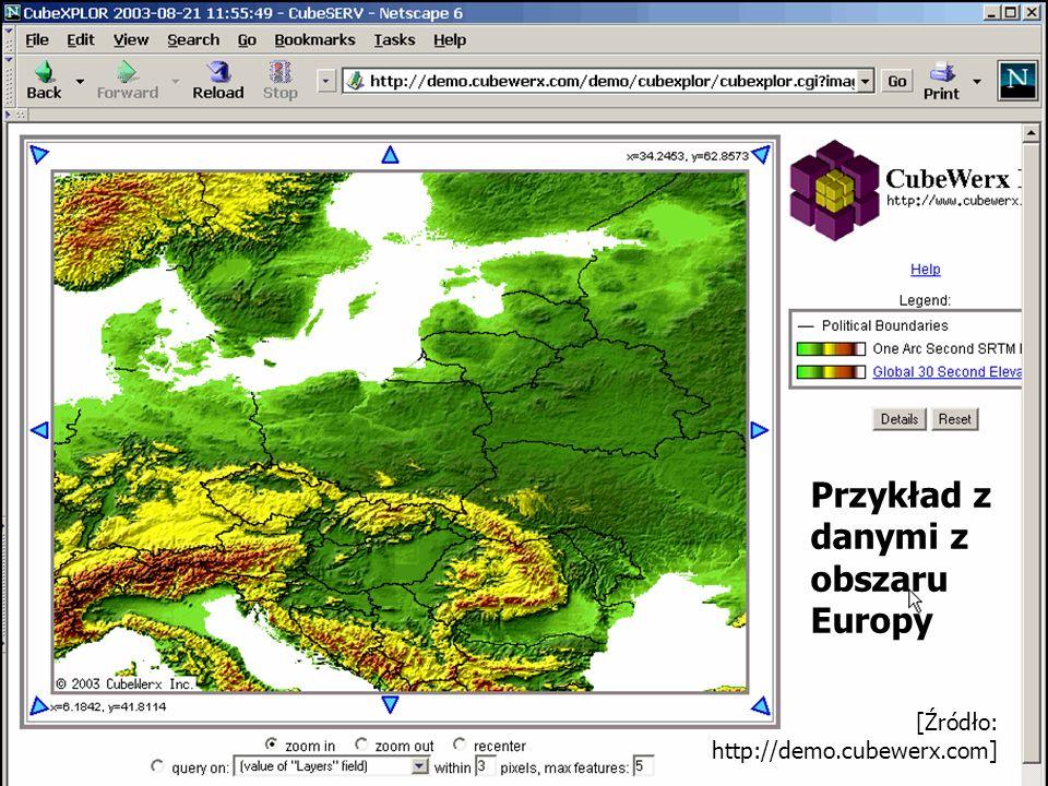 Przykład z danymi z obszaru Europy [Źródło: http://demo.cubewerx.com]
